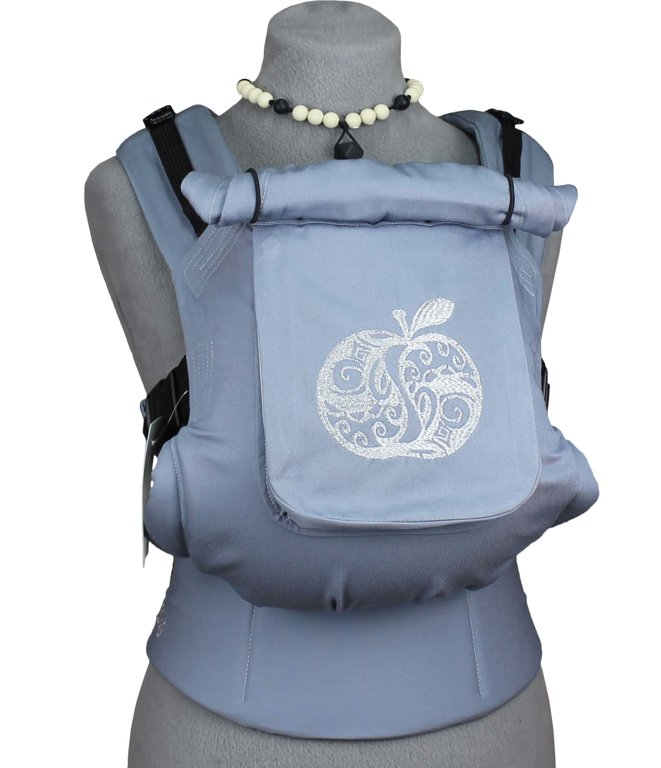 TeddySling Comfort baby carrier with pocket - Light Grey Apple