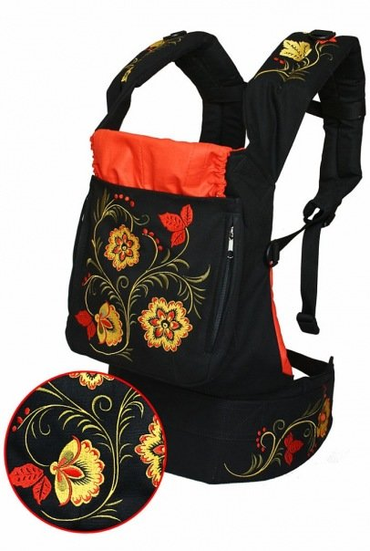 Ergonomic baby carrier Red Flowers - sling, backpack