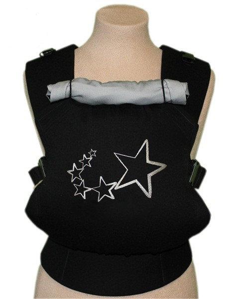 Ergonomiskā soma TeddySling - Black Stars - bērna pārnēsāšanas soma, slings, ergonomiskā ķengursoma