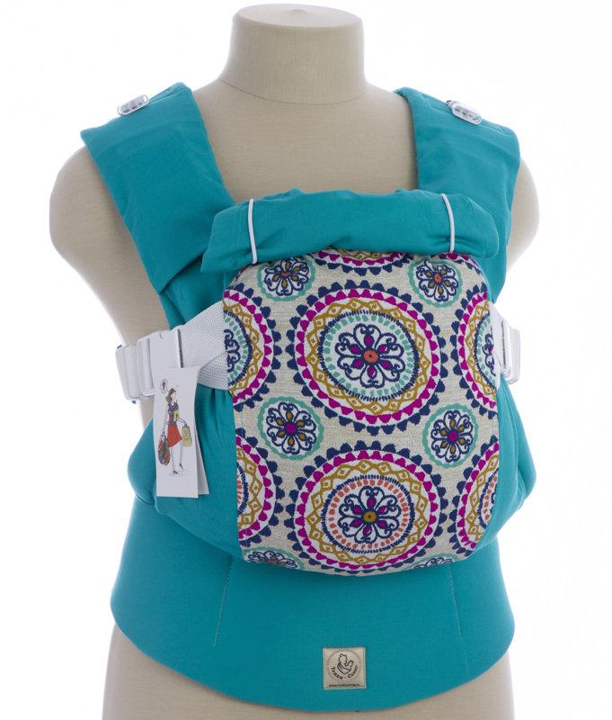 Ergonomiskā soma TeddySling LUX Blue Mandala  - bērna pārnēsāšanas soma, slings, ergosoma, ergonomiskā ķengursoma