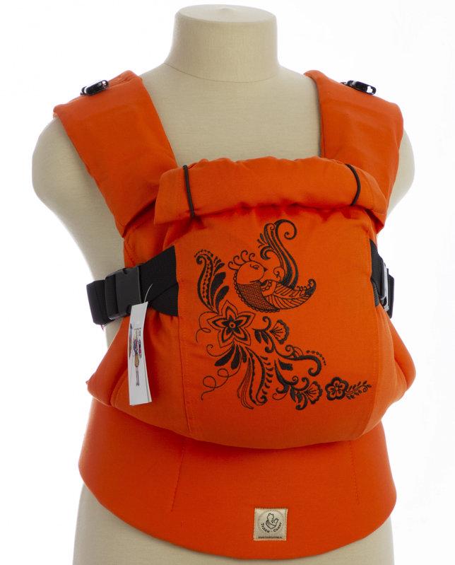 Ergonomiskā soma TeddySling LUX Orange Bird (bez kabata) - bērna pārnēsāšanas soma, slings, ergosoma, ergonomiskā ķengursoma