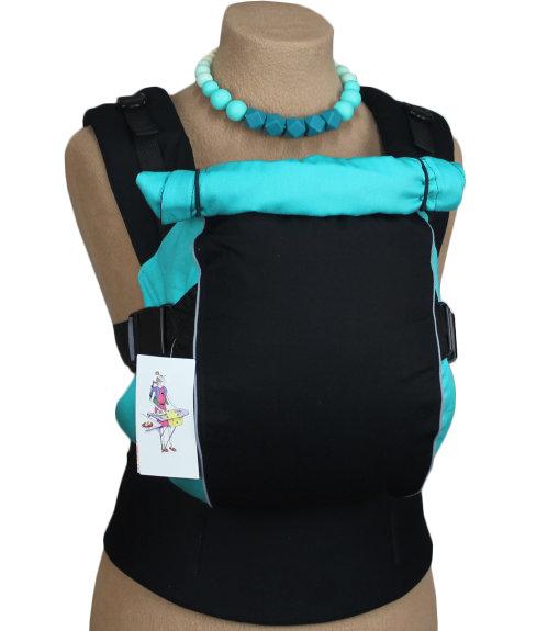 Ergonomiskā soma TeddySling LUX Avrora Light Blue ar atstarotājiem  - bērna pārnēsāšanas soma, slings, ergosoma, ergonomiskā ķengursoma