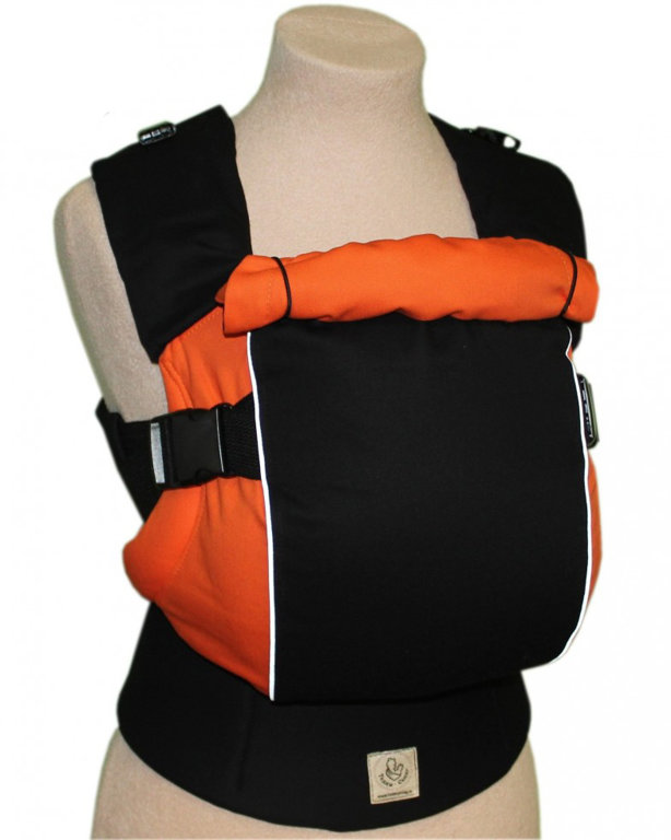 Ergonomiskā soma TeddySling  LUX Avrora Orange ar atstarotājiem  - bērna pārnēsāšanas soma, slings, ergosoma, ergonomiskā ķengursoma