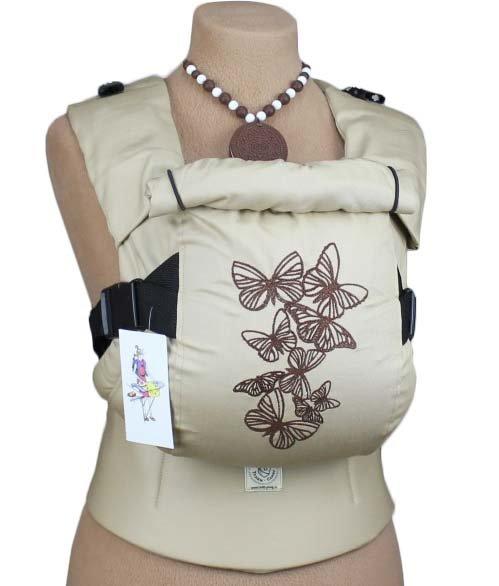 Ergonomiskā soma TeddySling LUX Beige Butterflies - bērna pārnēsāšanas soma, slings, ergosoma, ergonomiskā ķengursoma