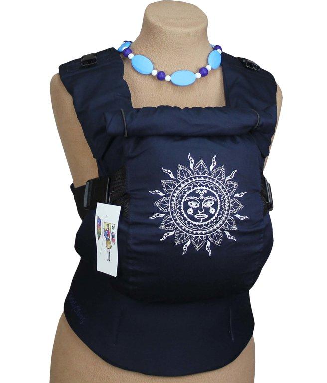 Ergonomiskā soma TeddySling Ethnic SUN blue (ar kabatu) - bērna pārnēsāšanas soma, slings, ergosoma, ergonomiskā ķengursoma