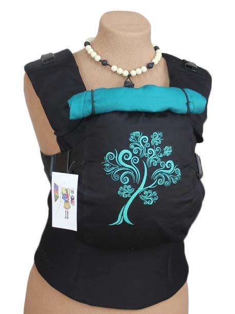 Ergonomiskā soma TeddySling LUX Blue Tree (ar kabatu) - bērna pārnēsāšanas soma, slings, ergosoma, ergonomiskā ķengursoma