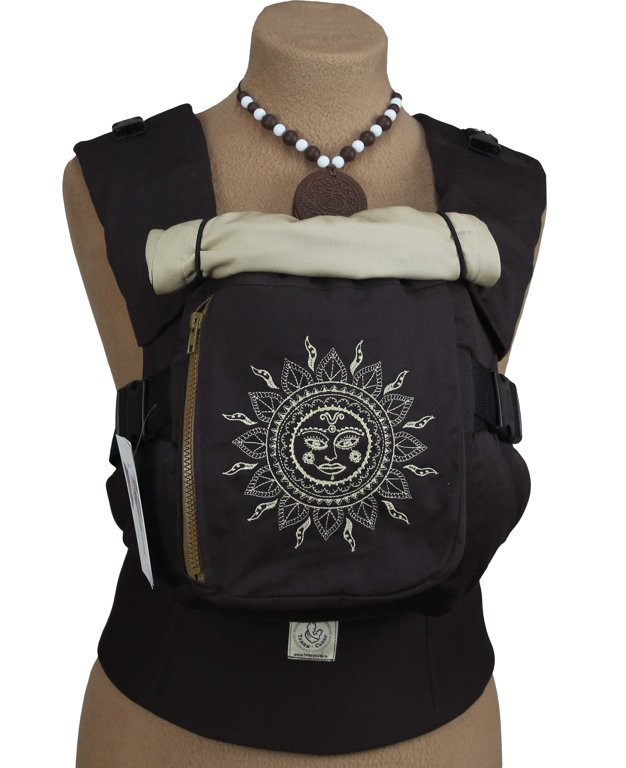 Ergonomiskā soma TeddySling LUX Ethnic Sun (ar kabatu)  - bērna pārnēsāšanas soma, slings, ergosoma, ergonomiskā ķengursoma