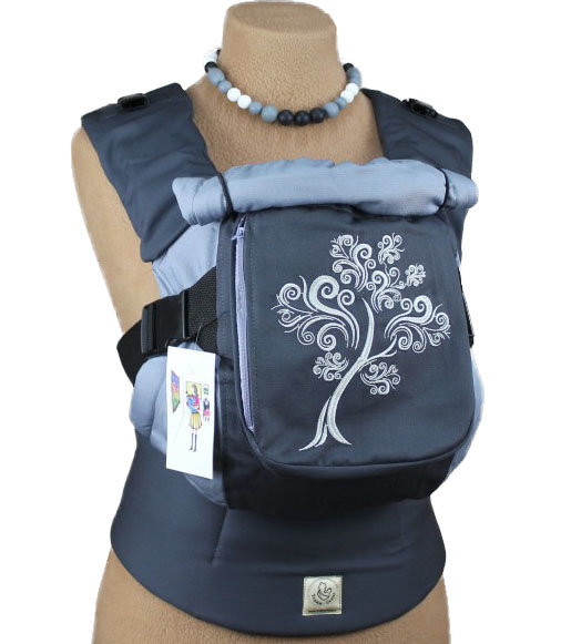 Ergonomiskā soma TeddySling LUX Grey Tree (ar kabatu) - bērna pārnēsāšanas soma, slings, ergosoma, ergonomiskā ķengursoma