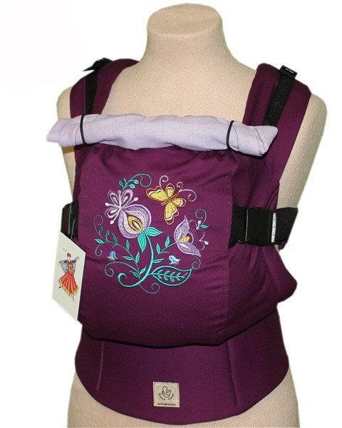 Ergonomiskā soma TeddySling LUX Flowers (ar kabatu) - bērna pārnēsāšanas soma, slings, ergosoma, ergonomiskā ķengursoma