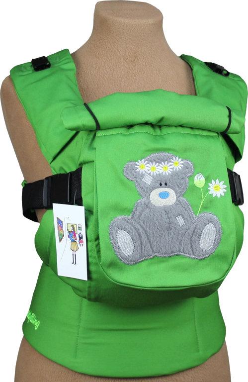 Ergonomiskā soma TeddySling LUX Green Teddy- bērna pārnēsāšanas soma, slings, ergosoma, ergonomiskā ķengursoma