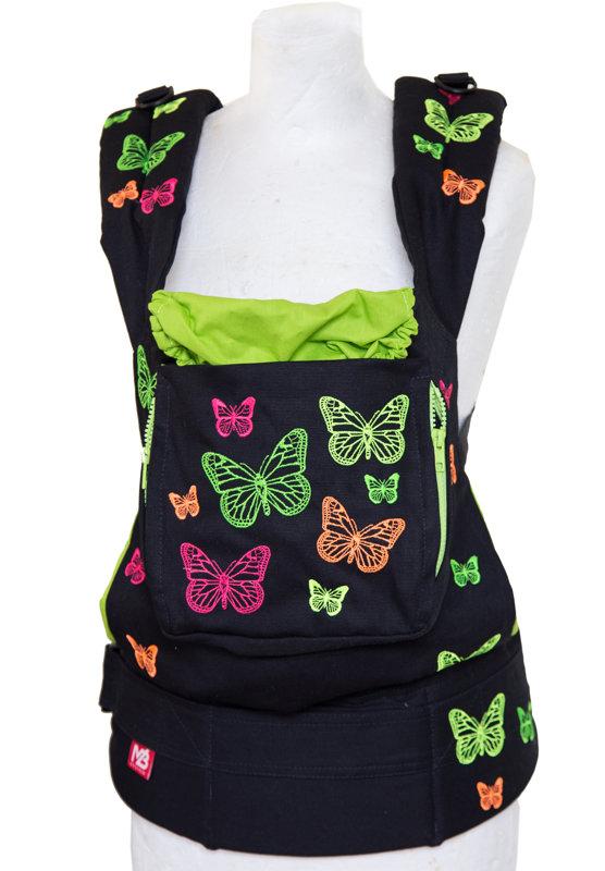Ergonomiskā soma MB design - Black Butterfly ar uzliku zīšanai - bērna pārnēsāšanas soma, slings, ergosoma