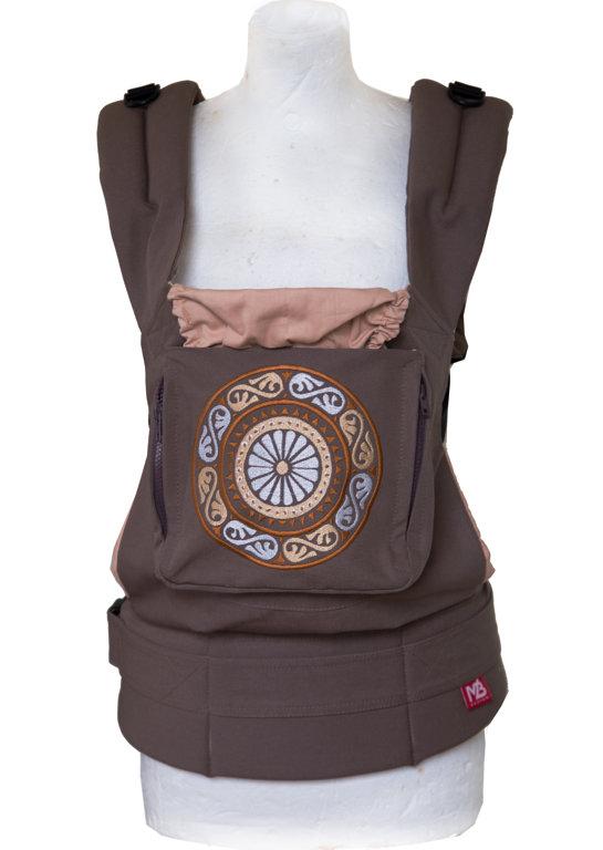 Ergonomiskā soma MB design - Brown Mandala - bērna pārnēsāšanas soma, slings, ergosoma