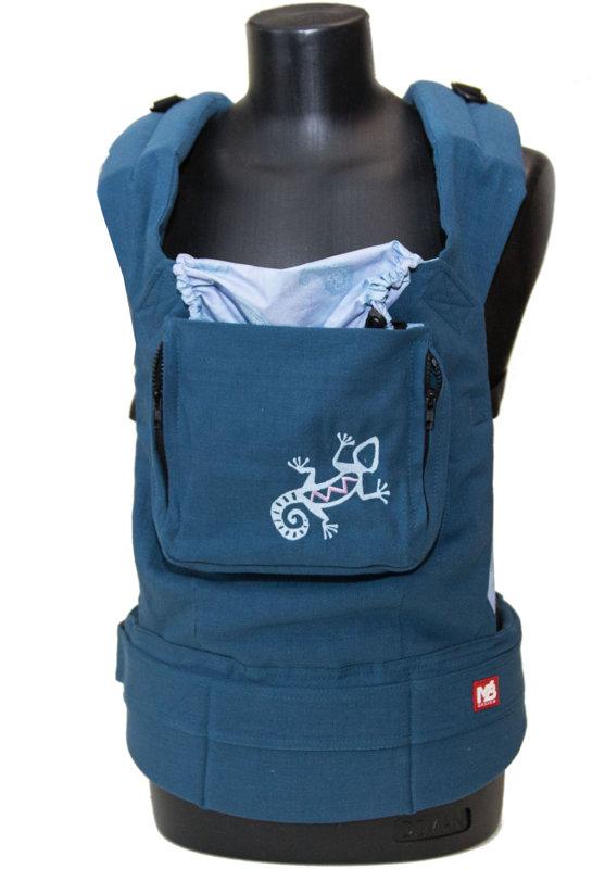 Ergonomiskā soma MB Design - Blue Lizard - bērna pārnēsāšanas soma, slings, ergosoma