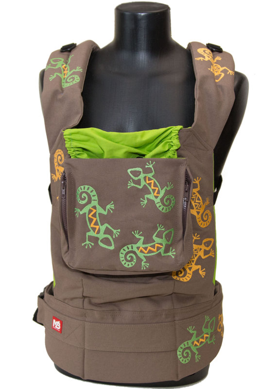 Ergonomiskā soma MB Design - Brown Lizards - bērna pārnēsāšanas soma, slings, ergosoma