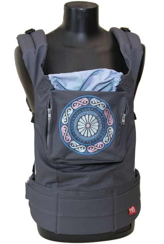 Ergonomiskā soma MB design - Grey Mandala - bērna pārnēsāšanas soma, slings, ergosoma