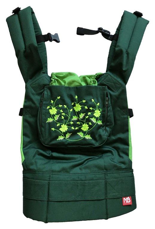 Ergonomiskā soma MB design - Green Field - bērna pārnēsāšanas soma, slings, ergosoma