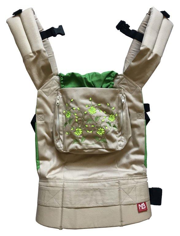 Ergonomiskā soma MB design - Beige Green - bērna pārnēsāšanas soma, slings, ergosoma
