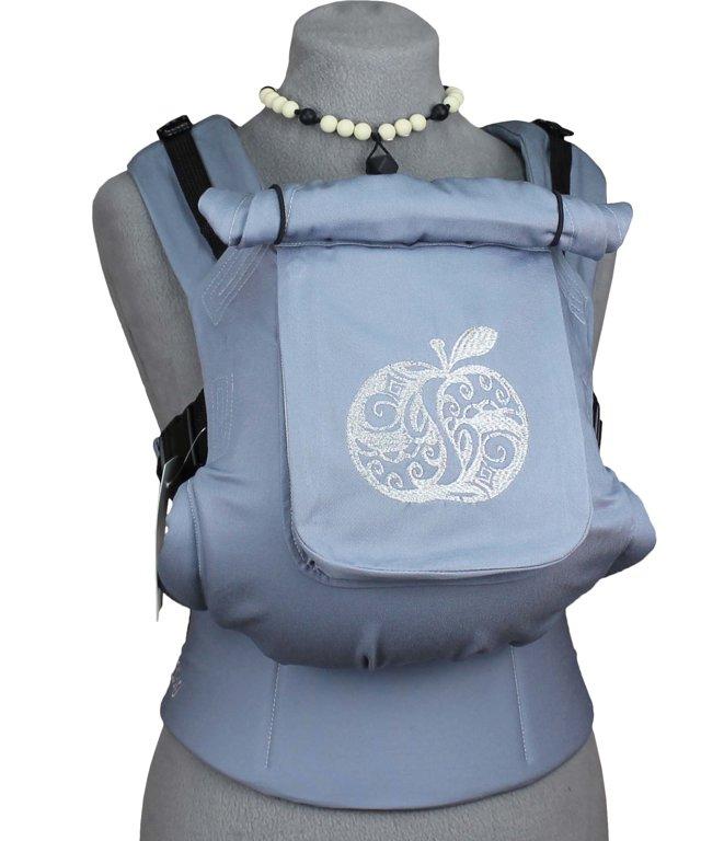 Ergonomiskā soma TeddySling - Light Grey Apple (ar kabatu) - bērna pārnēsāšanas soma, slings, ergosoma, ergonomiskā ķengursoma