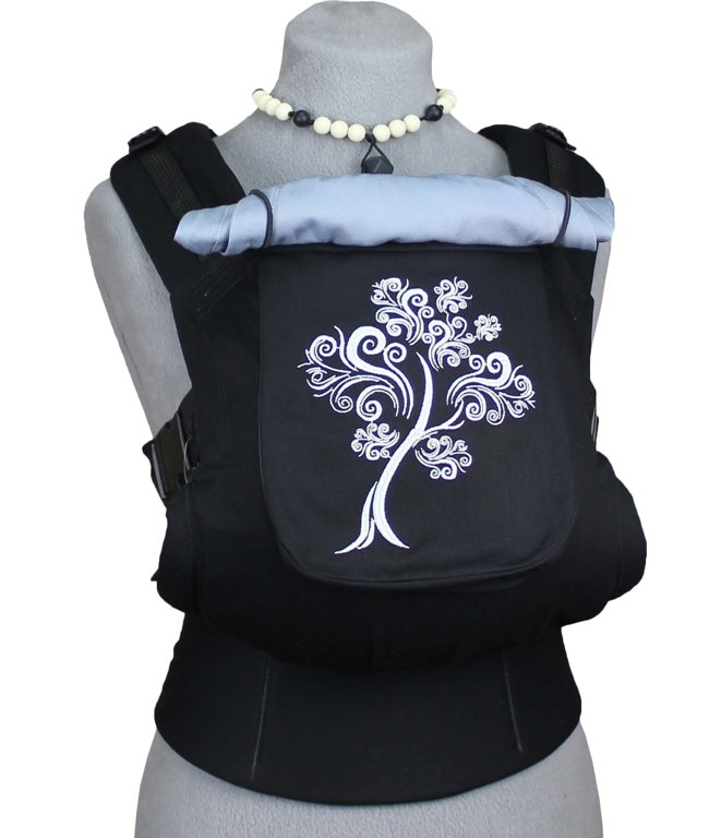 Ergonomiskā soma TeddySling - Black Tree (ar kabatu) - bērna pārnēsāšanas soma, slings, ergosoma, ergonomiskā ķengursoma