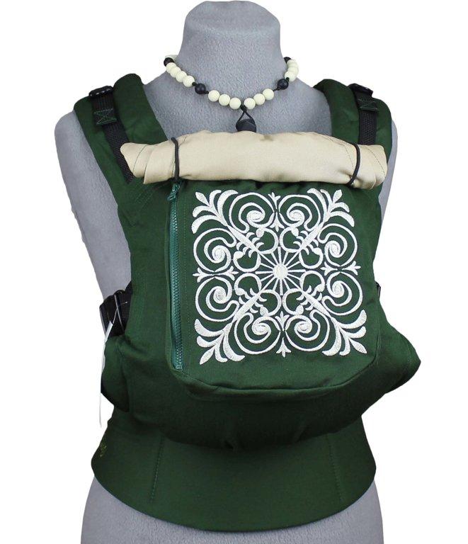 Ergonomiskā soma TeddySling Green (ar kabatu) - bērna pārnēsāšanas soma, slings, ergosoma, ergonomiskā ķengursoma
