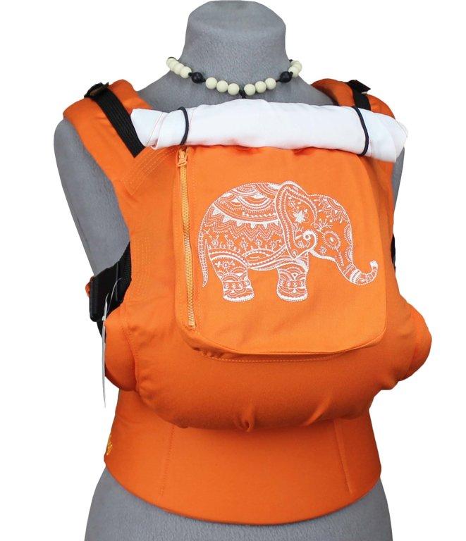 Ergonomiskā soma TeddySling (ar kabatu) - Orange Elephant - bērna pārnēsāšanas soma, slings, ergosoma, ergonomiskā ķengursoma