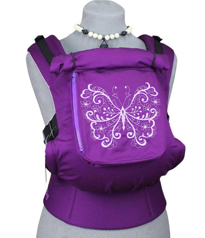 Ergonomiskā soma TeddySling (ar kabatu) - Violet Butterfly - bērna pārnēsāšanas soma, slings, ergosoma, ergonomiskā ķengursoma