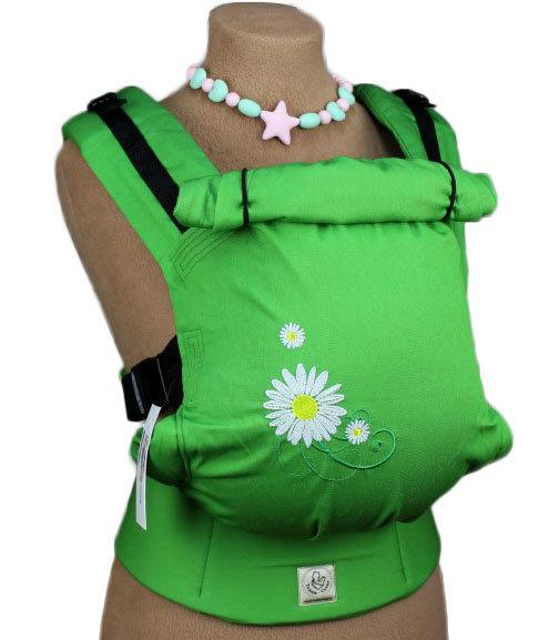 Ergonomiskā soma TeddySling - Green daisy - bērna pārnēsāšanas soma, slings, ergosoma, ergonomiskā ķengursoma