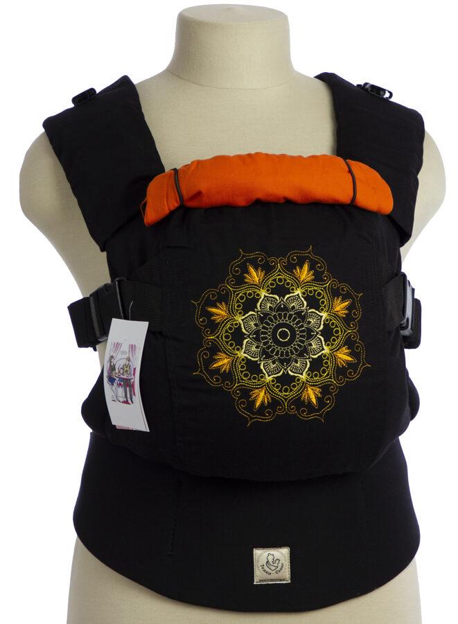 Ergonomiskā soma TeddySling LUX Orange Magic (ar kabatu) - bērna pārnēsāšanas soma
