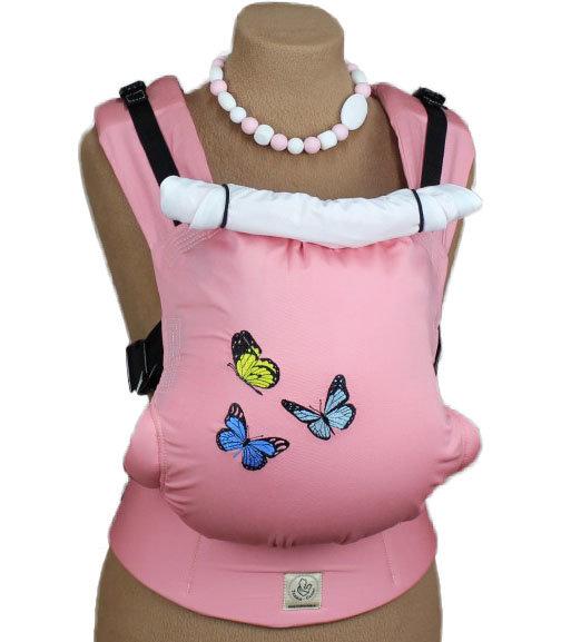 Ergonomiskā soma TeddySling - Pink butterflies - bērna pārnēsāšanas soma, slings, ergosoma, ergonomiskā ķengursoma