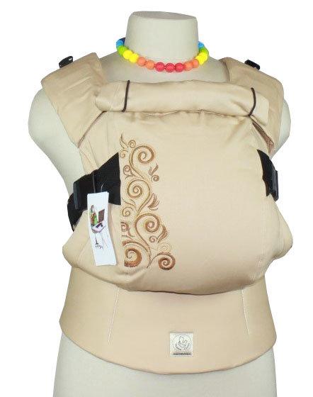 Ergonomiskā soma TeddySling LUX - Beige Flowers - bērna pārnēsāšanas soma