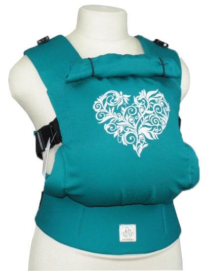 Ergonomiskā soma TeddySling - Turquoise heart - bērna pārnēsāšanas soma, slings, ergosoma, ergonomiskā ķengursoma