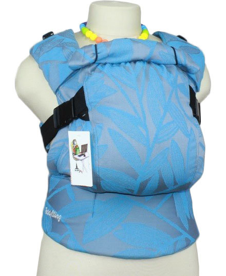 Ergonomiskā soma TeddySling LUX Blue leaves - bērna pārnēsāšanas soma, slings, ergosoma, ergonomiskā ķengursoma