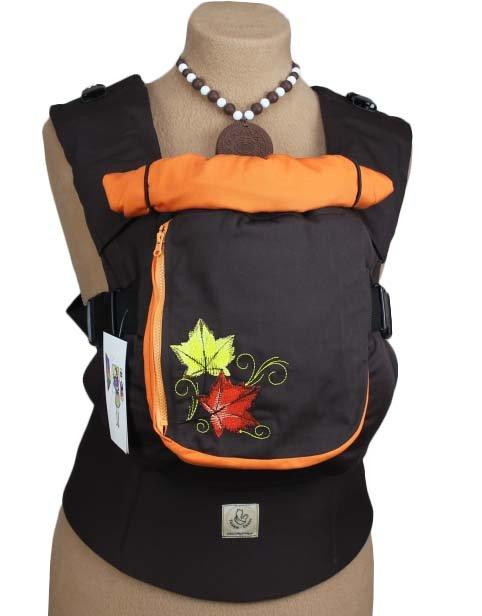 Ergonomiskā soma TeddySling LUX Brown Leaf - bērna pārnēsāšanas soma, slings, ergosoma, ergonomiskā ķengursoma