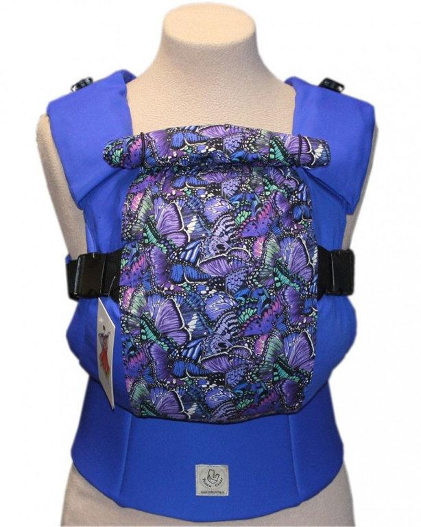 Ergonomiskā soma TeddySling Blue Butterfly LUX - bērna pārnēsāšanas soma, slings, ergosoma, ergonomiskā ķengursoma