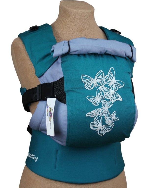 Ergonomiskā soma TeddySling LUX (ar kabatu)- Summer Butterflies - bērna pārnēsāšanas soma, slings, ergosoma, ergonomiskā ķengursoma