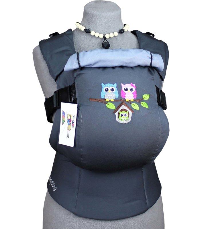 Эргономичный рюкзак TeddySling LUX Grey Birds с карманом - слинг, эрго-рюкзак, эргономичная сумка кенгуру