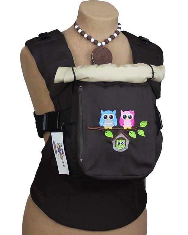 Ergonomiskā soma TeddySling LUX Brown Birds (ar kabatu) - bērna pārnēsāšanas soma, slings, ergosoma, ergonomiskā ķengursoma