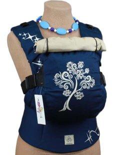 Ergonomiskā soma TeddySling LUX Navy Tree (ar kabatu) - bērna pārnēsāšanas soma, slings, ergosoma, ergonomiskā ķengursoma