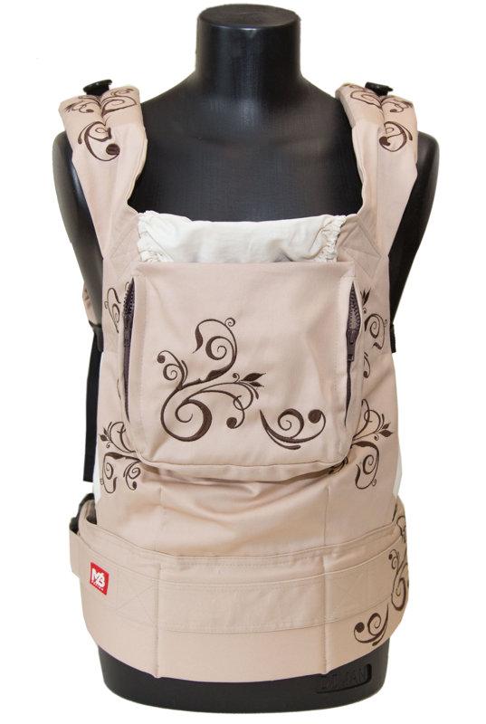 Эрго рюкзак слинг Brown Flowers с накладками на лямки