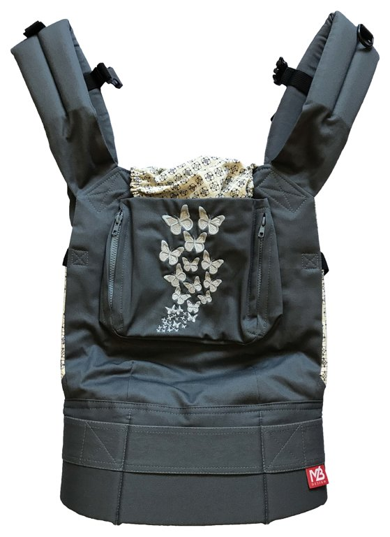 Ergonomiskā soma MB Design - Gray Butterfly - bērna pārnēsāšanas soma, slings, ergosoma