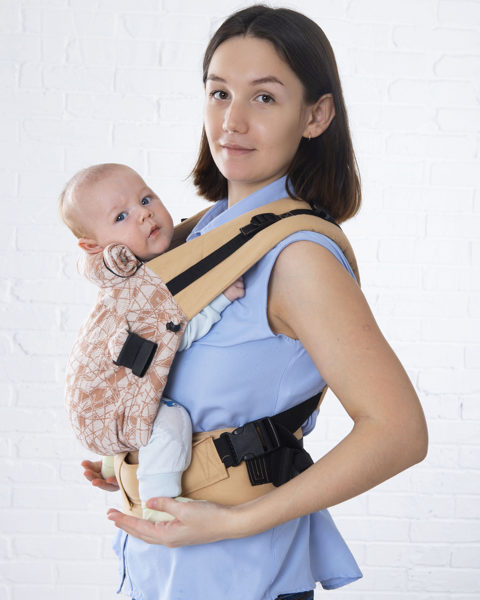 Эргономичный рюкзак TeddySling Mini LUX Beige - слинг, эрго-рюкзак, эргономичная сумка кенгуру