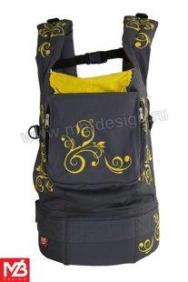 Ergonomiskā soma MB design - Yellow Flowers - bērna pārnēsāšanas soma, slings, ergosoma